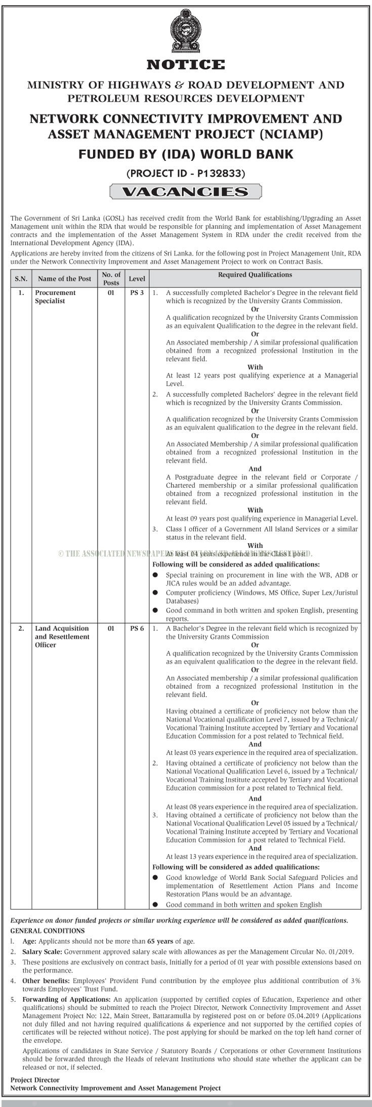 Procurement Specialist, Land Acquisition & Resettlement Officer - Ministry of Highways & Road Development and Petroleum Resources Development